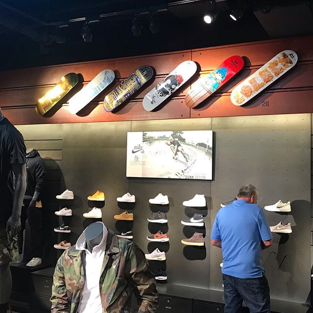 Walked into the @nike store in Las Vegas and hanging on one of the walls was a Birdhouse deck I helped put the art together for. Kind of cool to see.