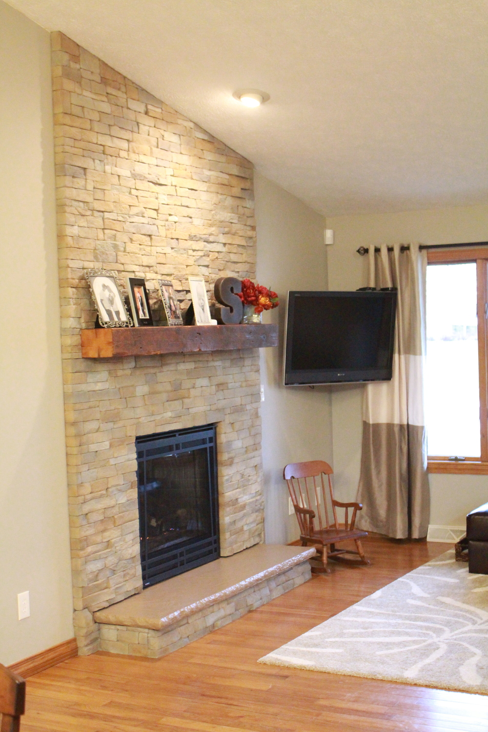 After: The addition of the faux-brick surround makes for a homier, more rustic room. Other looks can be achieved using these same materials and methods.