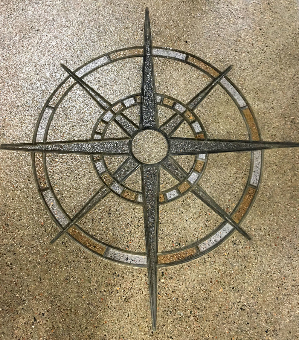 Compass Rose Wide Placed and Stained