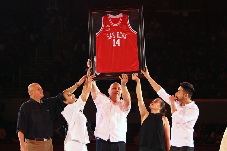 "Carlos ""Caloy"" Loyzaga's No. 14 jersey is officially retired by the San Beda College during the opening ceremony of NCAA Season 92 on Saturday, June 25, 2016, at the Mall of Asia Arena.  Josh Albelda, ABS-CBN Sports"
