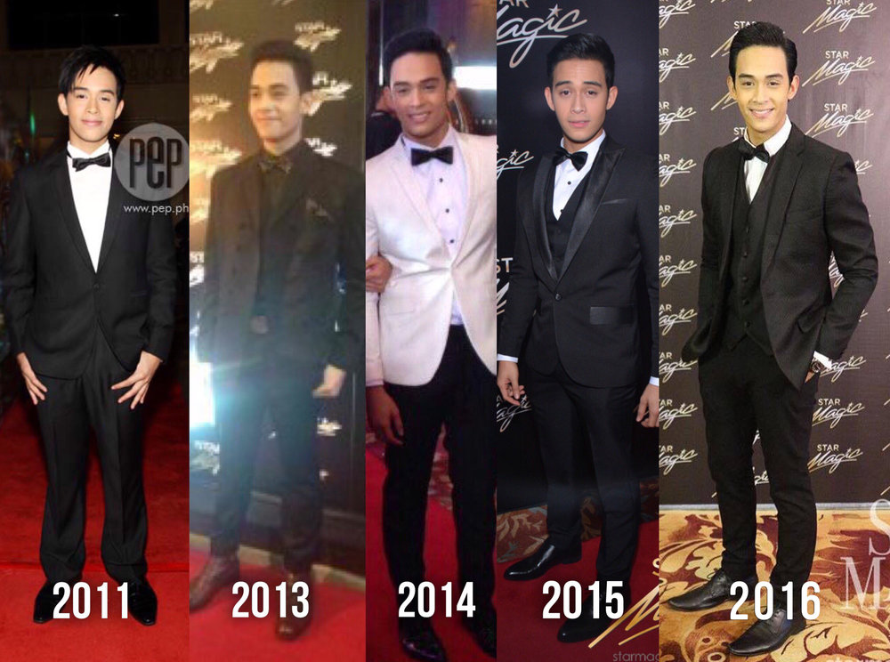 Diego Loyzaga over the years of Star Magic Ball. He was absent year 2012 as he was in Australia for a holiday.