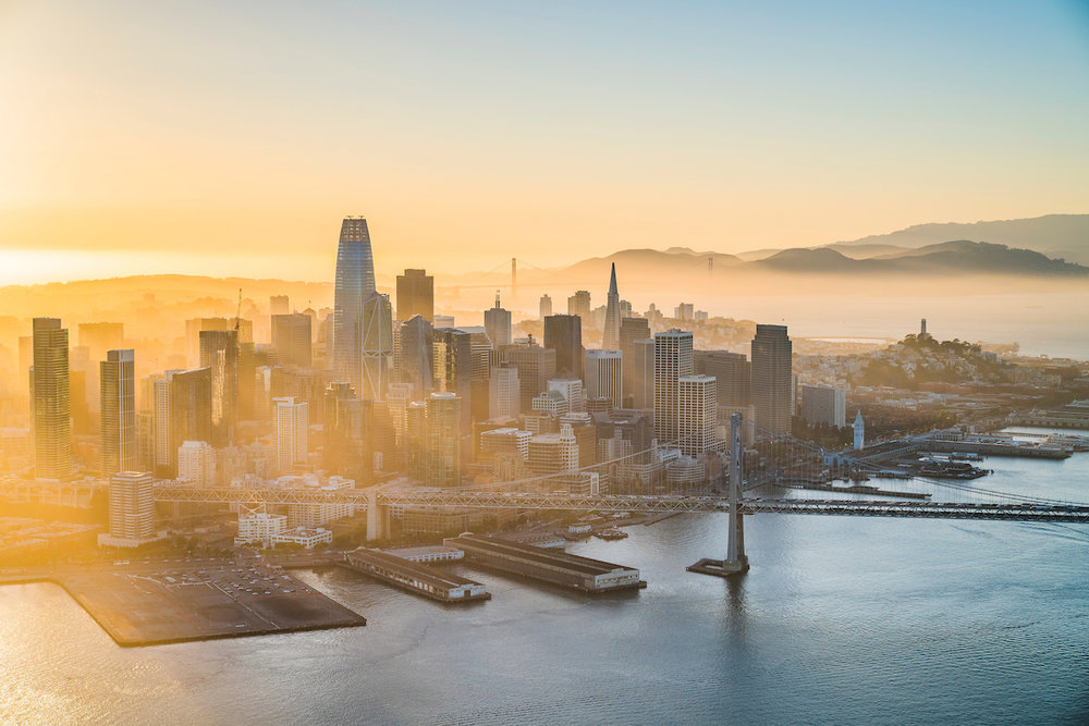 Aerial views of San Francisco, CA