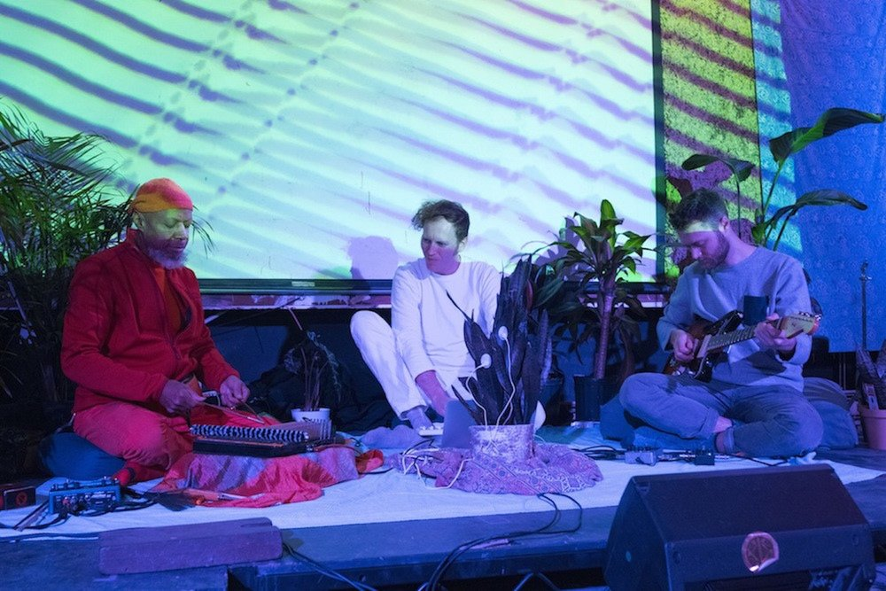Joe, Jon and snake plant play with Laraaji