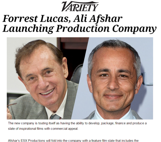 Forrest Lucas, Ali Afshar Launching Production Company   Forrest Lucas, founder and owner of Lucas Oil Products, has teamed with actor-producer Ali Afshar to launch the production company ESX Entertainment.  The new company is touting itself as having the ability to develop, package, finance and produce a slate of inspirational films with commercial appeal.