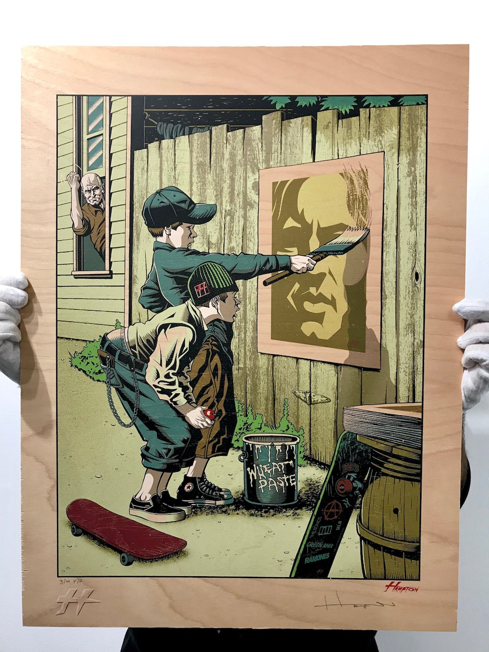 """Justin Hampton """"Wheat Paste Post Haste"""" - Limited Edition Fine Art Print9 color screen print with metallic gold ink on on birch wood panelprinter proofsigned and numbered$300available now in our PRINTS SHOP"""