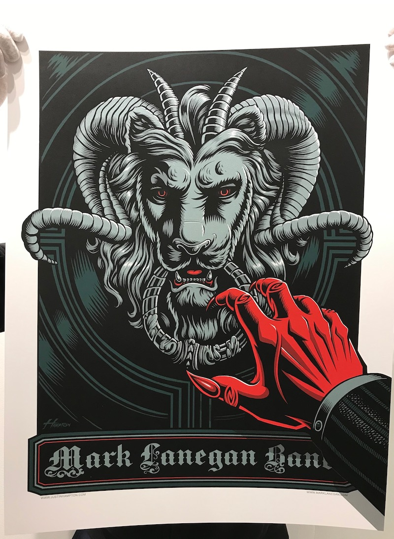 """Just Hampton """"Mark Lanegan Band"""" Tour Poster - 5 color screen print with metallic silver ink24 x 18 inches$40available now in our PRINTS SHOP"""