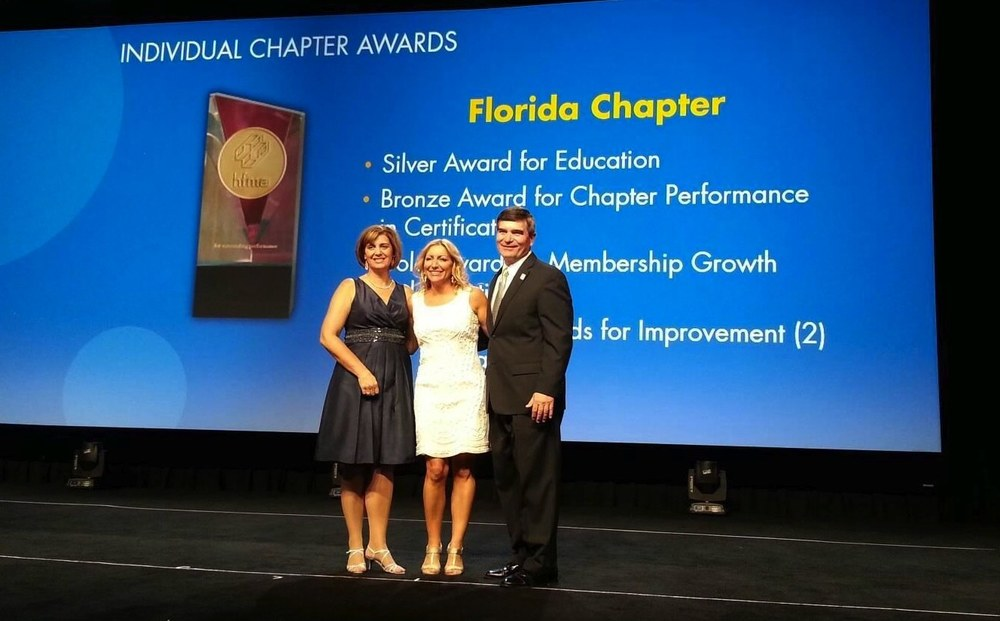 HFMA Chair 2014, Kari Cornicelli (L), HFMA FL Chapter President, Renee Jordan (C) and HFMA Chair 2013, Steve Rose (R)