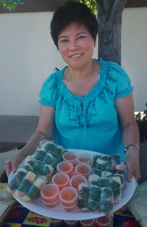 Featured here is Hoa, one of our market vendors. Hoa makes traditional Vietnamese spring rolls. She vends at the Mt. Shasta Farmer's Market all season long, and during the winter does local delivery and pickup. You can email her at hoasspringrolls1@gmail.com to inquire further.