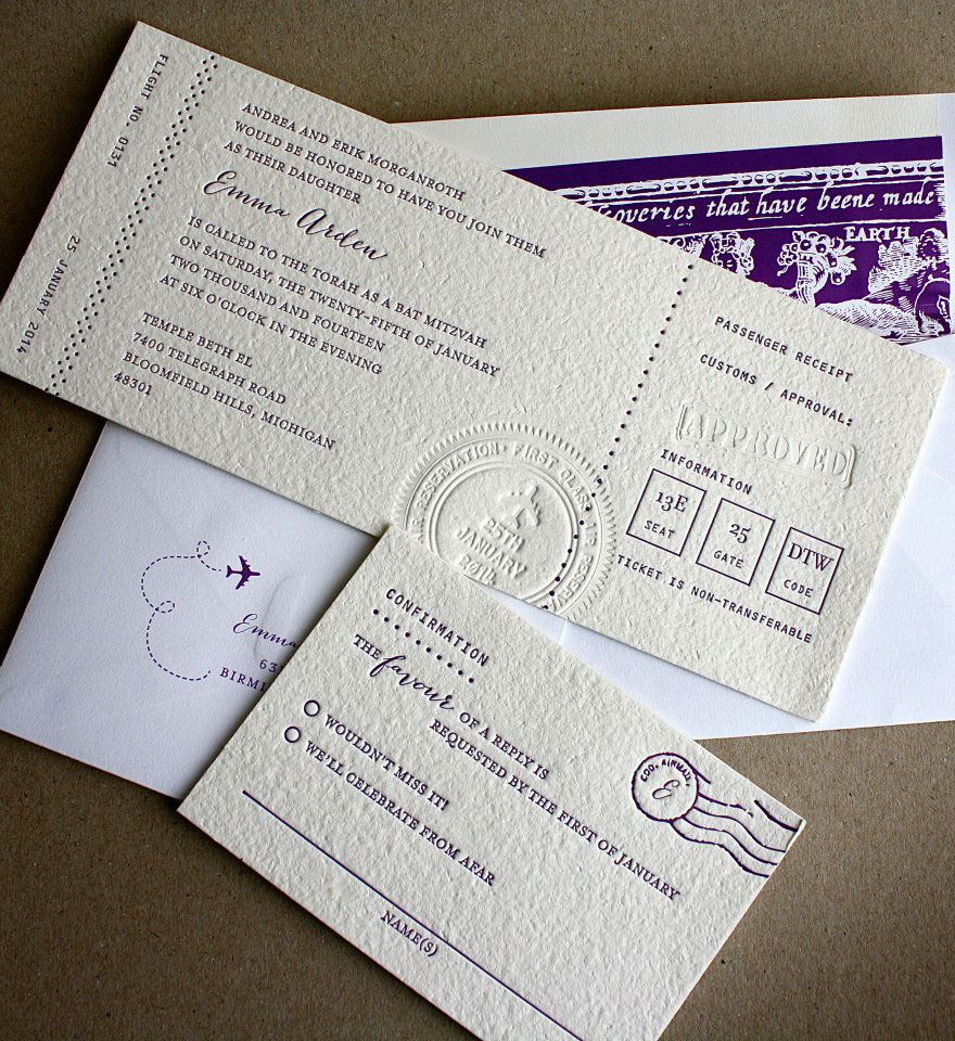 Custom letterpress invitation suite