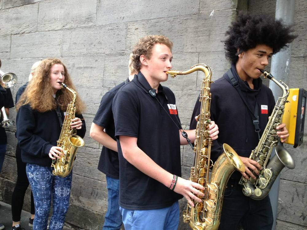 (Nottingham Youth Jazz Orchestra...behind these kids is another kid with a melodion)