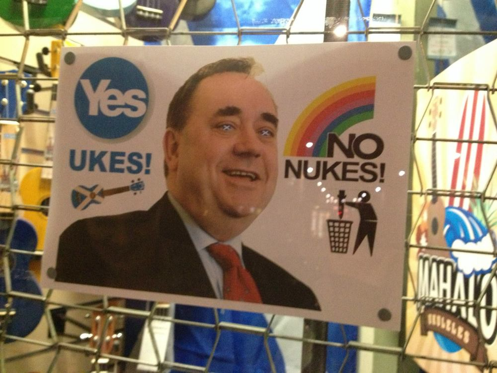 (Seen outside of a music store in Edinburgh.  This was also just weeks prior to the 2014 Scottish independence referendum, which saw an astronomical voter turn-out.)