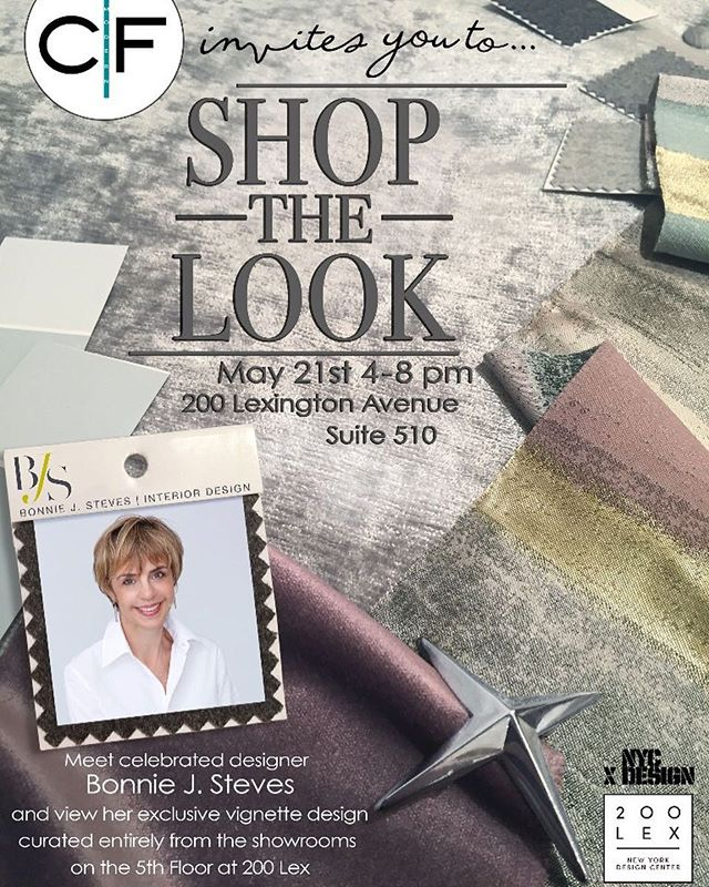 Looking forward to an exciting evening of collaborative design for #shopthelookon5 at #200lex ! The 5th floor at the NYDC is teaming up with an extraordinary group of talented designers and I am thrilled to be in such great company!  @bonniejstevesinteriordesign @alistinteriors @sashabikoff @garrowkdesigns @jdkinteriors @sarabengur @rajnialexdesign @tamarastephenson  Come and meet us on May 21st to check out the vignettes we created using products from the showrooms @liveonfive #liveonfive @cfmodern @cosulichinteriors @curreyco @cliff_young_ltd @giorgiocollectionofficial @metropolitanlightingny @tuckerrobbins @theodore_alexander_official