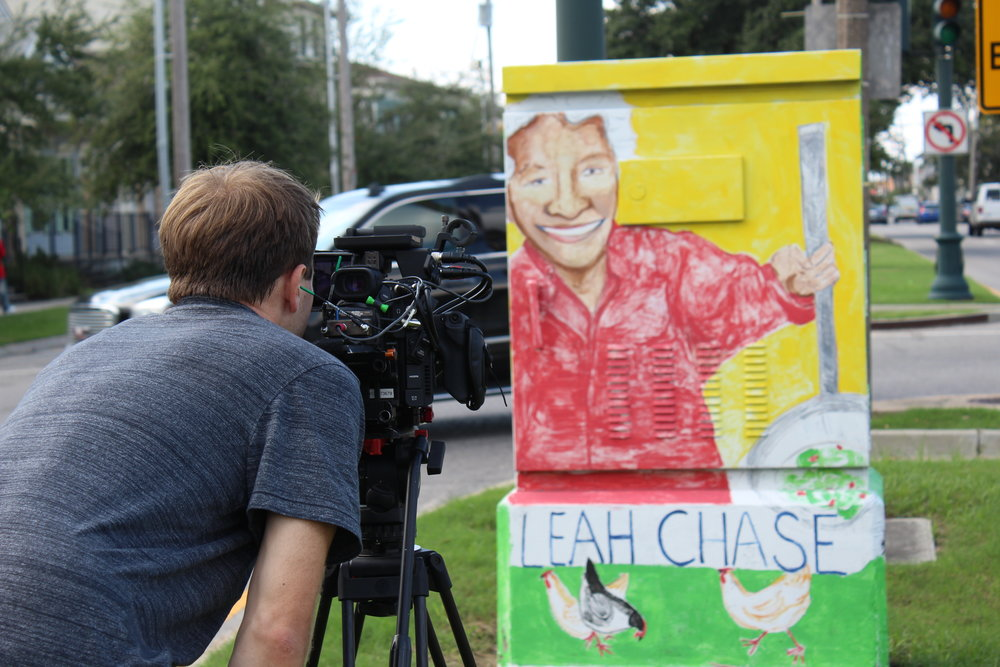 Filming at Dooky Chase's in New Orleans.