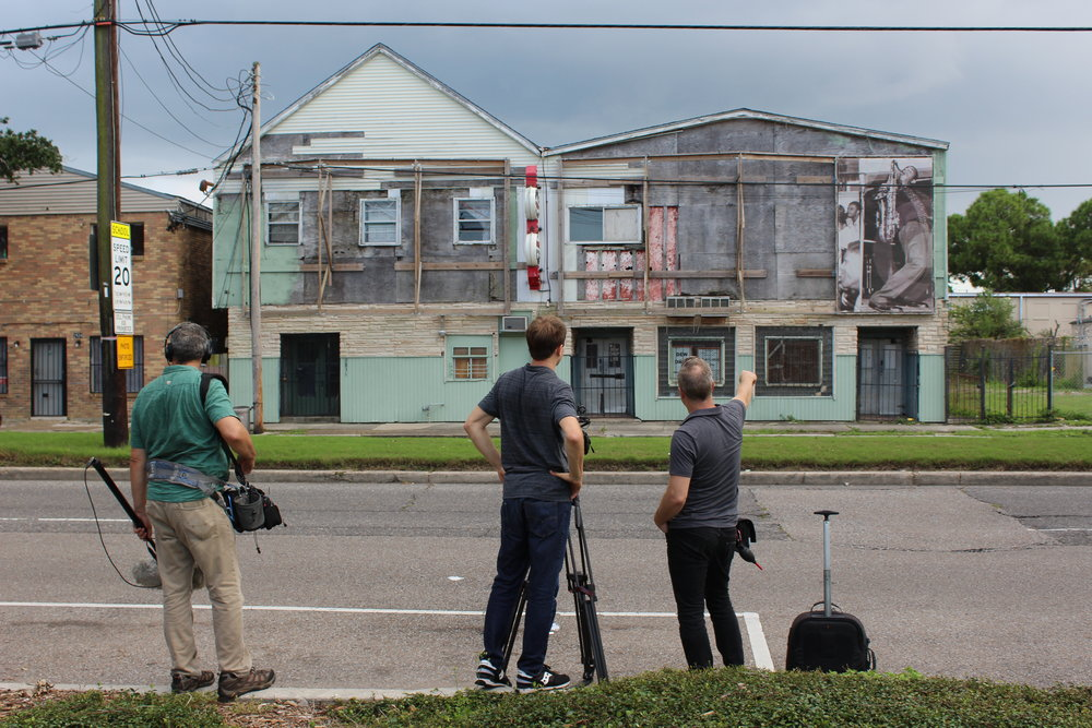 Filming at the Dew Drop Inn in New Orleans. Photo by Emily Pfeil