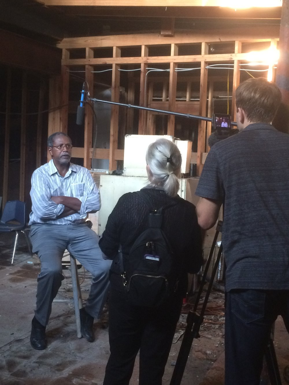 Interviewing Kenneth Jackson at the Dew Drop Inn in New Orleans.