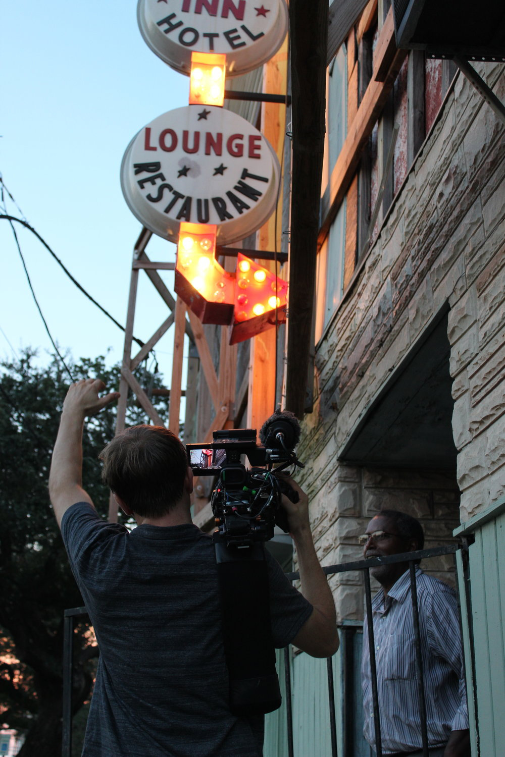 Filming at the Dew Drop Inn in New Orleans.