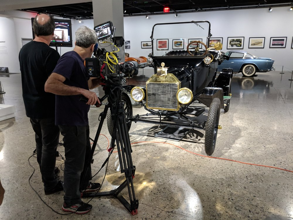 Shooting at the Petersen Automotive Museum. Photo by Emily Pfeil