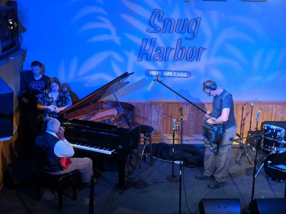 Filming at Snug Harbor Jazz Bistro in New Orleans. Photo by Emily Pfeil