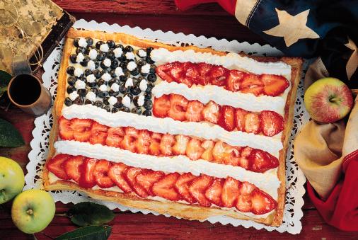 Strawberry USA flag cake