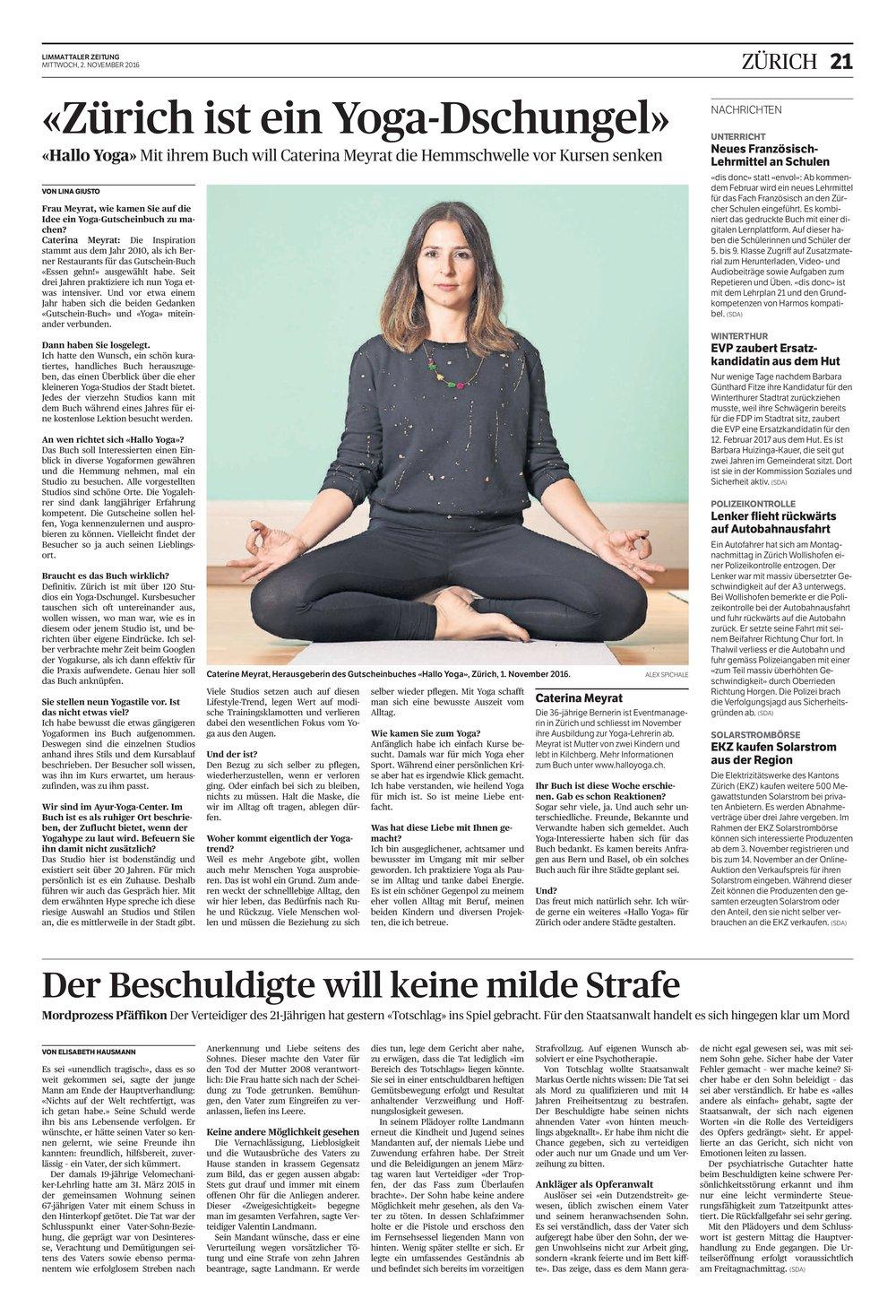 Limmattaler Zeitung, 02.11.2016