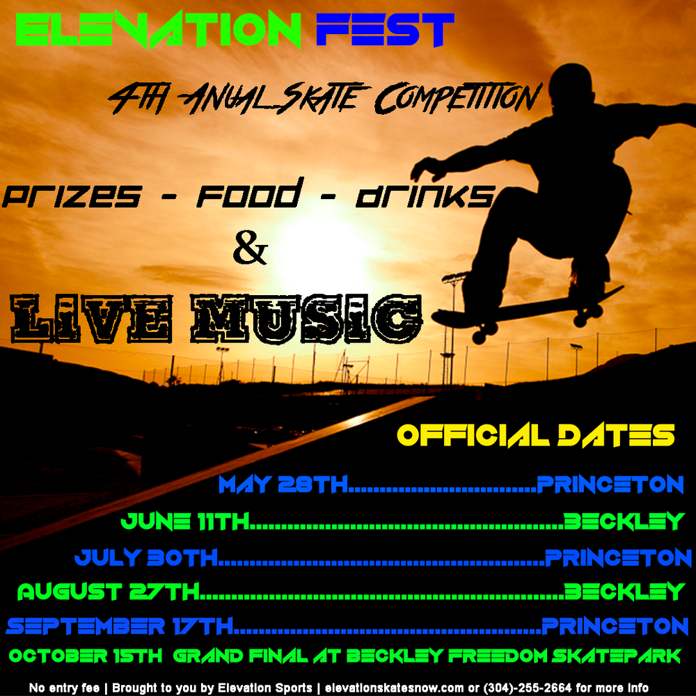 Elevation Fest 2016 is an annual traveling skate competition. Expanding  each year Elevation Sports plans to hit the road and go to multiple skate  parks in ...