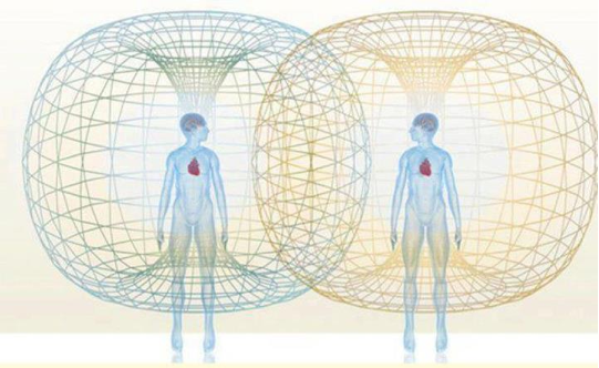 Image by The Heart Math Institute which is researching and documenting the scientific foundations of love, recognizing that we each have an energy field that whether consciously or not is influencing others through the ultra-permeable and infinitely interconnected energy field we live in beyond the phsyical realm. What some call the morphogenic field or noosphere.
