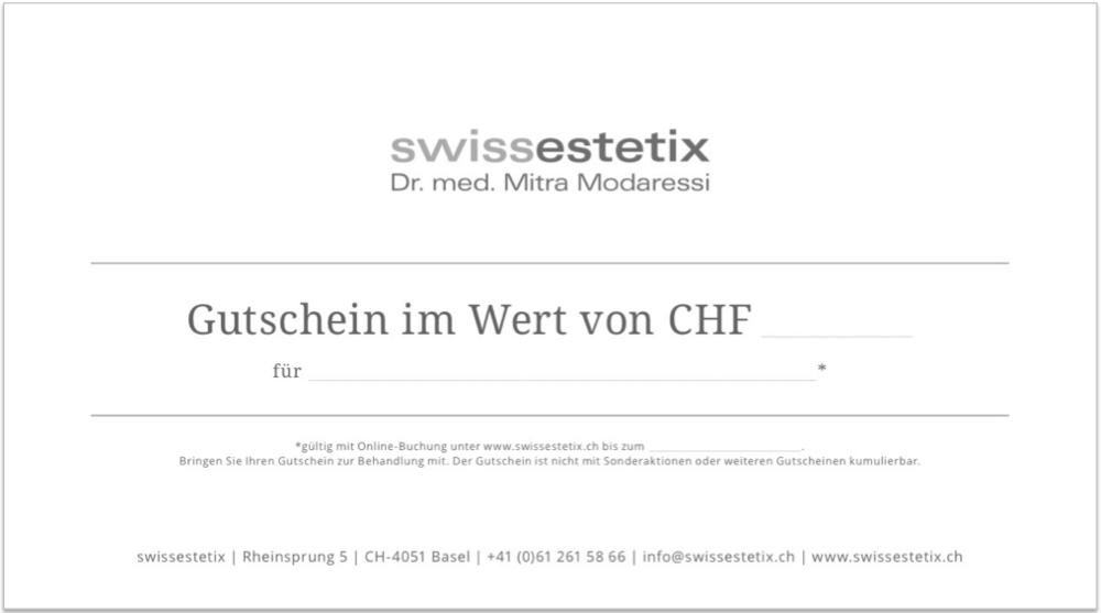 Gutscheine schenken | Dr. med. Mitra Modaressi | Rheinsprung 5 | CH-4051 Basel