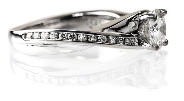 Custom Moissanite engagement ring by Sara Pocius