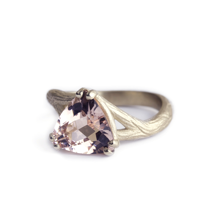 Morganite Organic Texture Engagement Ring