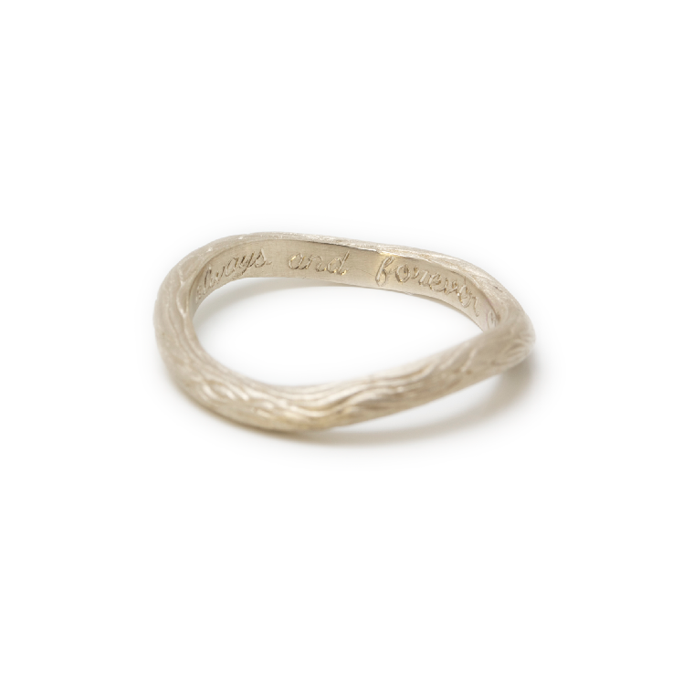 Organic Texture Wedding Band — Hand Engraved Inscription