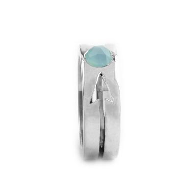 Blue Chalcedony Arrow Ring Custom Design