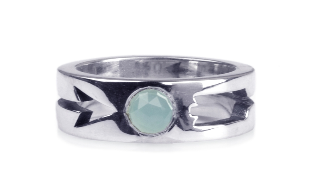 Arrow Ring with Blue Chalcedony Stone