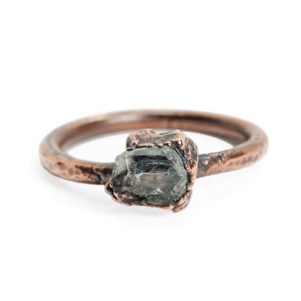 Wood textured Morganite engagement ring