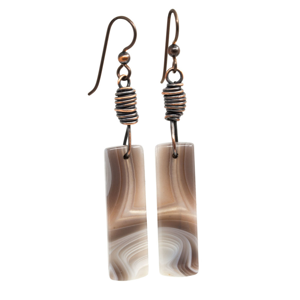 One of a Kind Botswana Agate Earrings