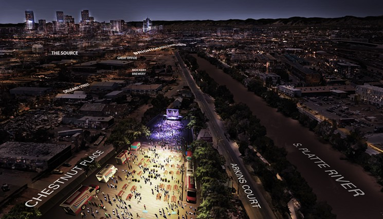 "RiNopalooza: Music Festival Grounds Are the Latest Development in River North  ""In the rapidly developing  River North Arts District , an underused lot is being transformed.""   8/2/2016 Westword"