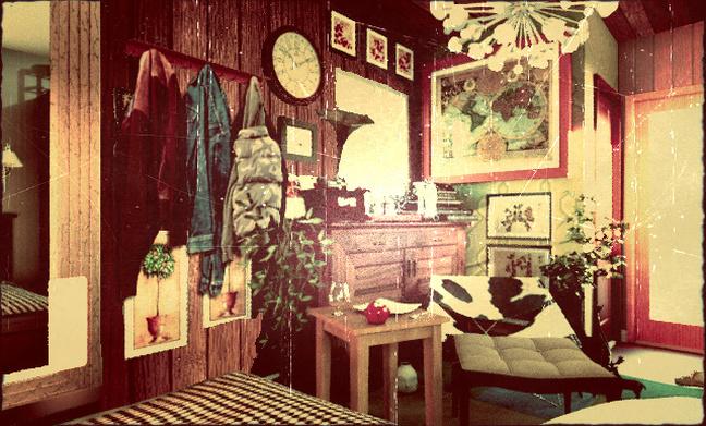 ベアが撮影したジャーリーの部屋(1981年) 川や湖で釣ったガラクタやアンティークの飾り物が多い。