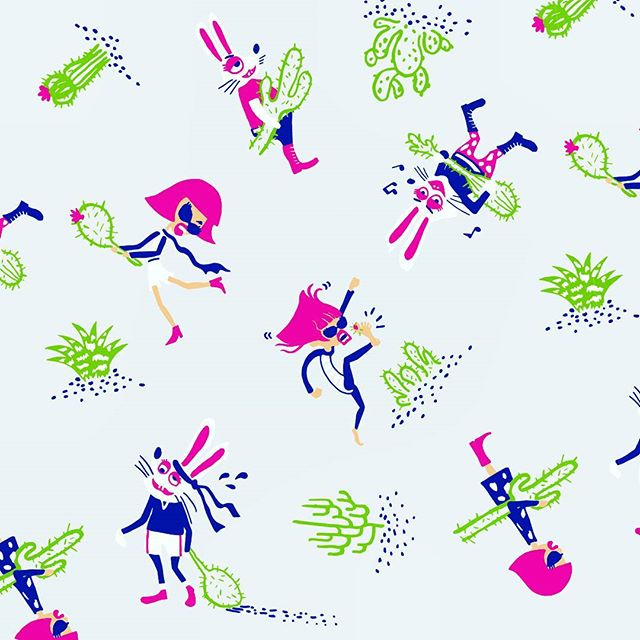 Silly together for life✌ 一生一緒に愉快爆発! #jarinko_world #textiledesign #patterns #cactus #bitchnbunny #silly #playmates  #forlife #bff #design