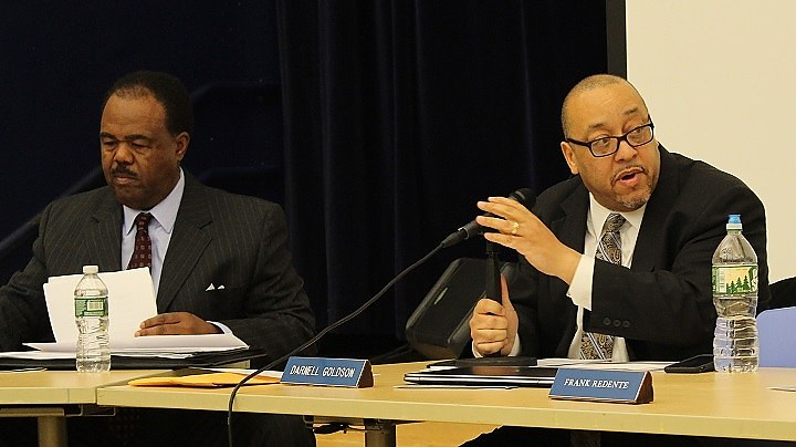 Joyner, Goldson at Monday's board meeting.