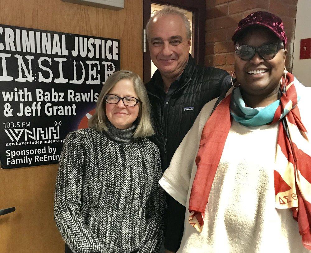 Cynthia Farrar (left) with Criminal Justice Insider hosts Jeff Grant and Babz Rawls Ivy.