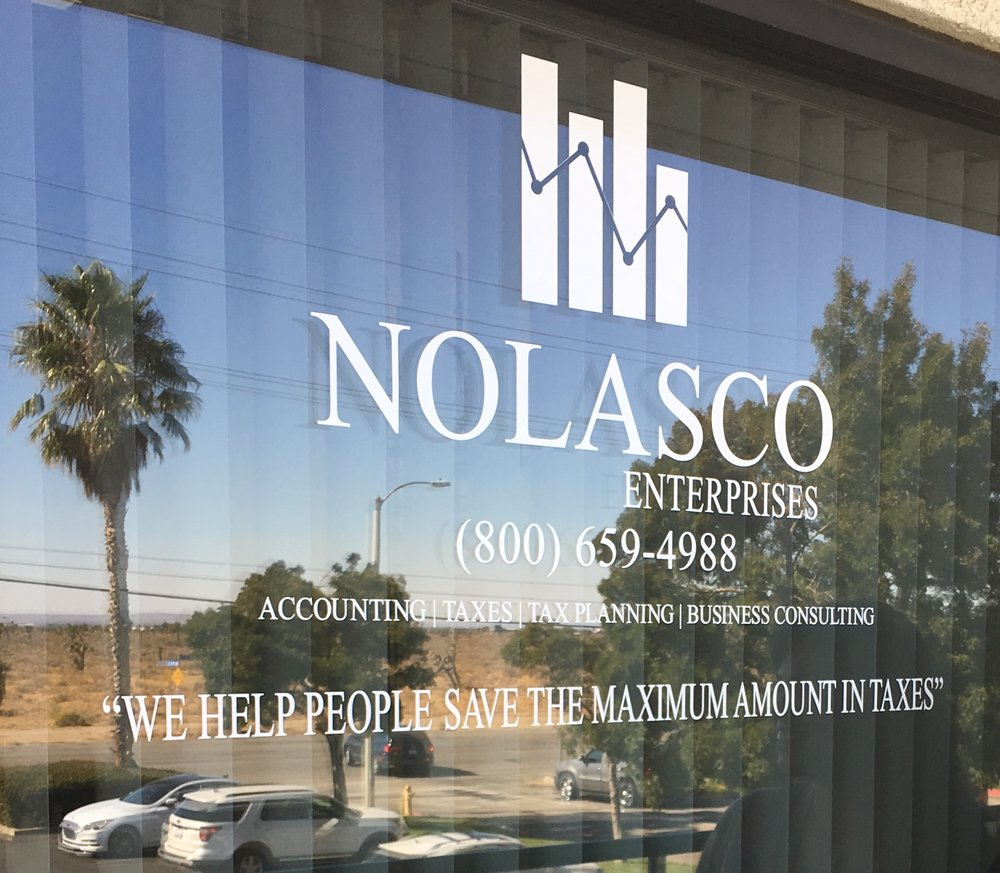 YOUR PALMDALE NOLASCO ENTERPRISESTAX OFFICE - THE MET CENTER AV1008 W AVENUE M-14 STE APALMDALE, CA 93551TEL: (800) 659-4988TODAY'S HOURS:BY APPOINTMENT ONLY
