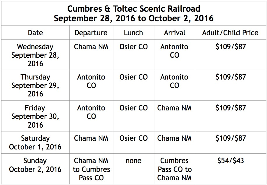 Contact the Cumbres & Toltec Scenic Railroad (1-888-286-2737) for more information and help with booking tickets.     cumbrestoltec.com