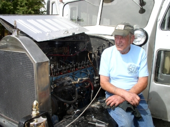 Ed adjusting the valves on that big GMC motor - June 2009:    All Photos in this article by Larry Spencer