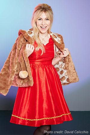 Tribble faux fur coat & Bardot party dress.