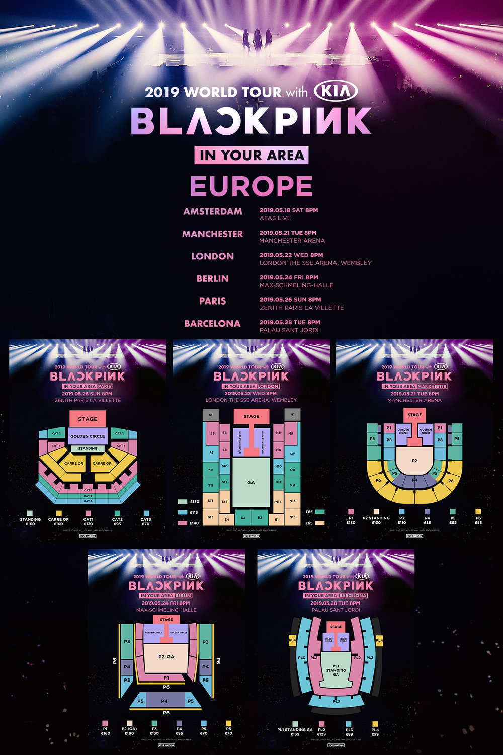 BLACKPINK EUROPE TOUR MAP