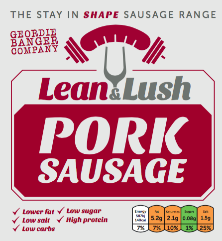 LEAN & LUSH - Pork sausage with less than 5% fat.
