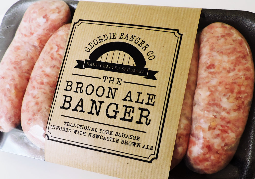 BROON ALE BANGER - TRADITIONAL PORK SAUSAGE INFUSED WITH NEWCASTLE BROWN ALE