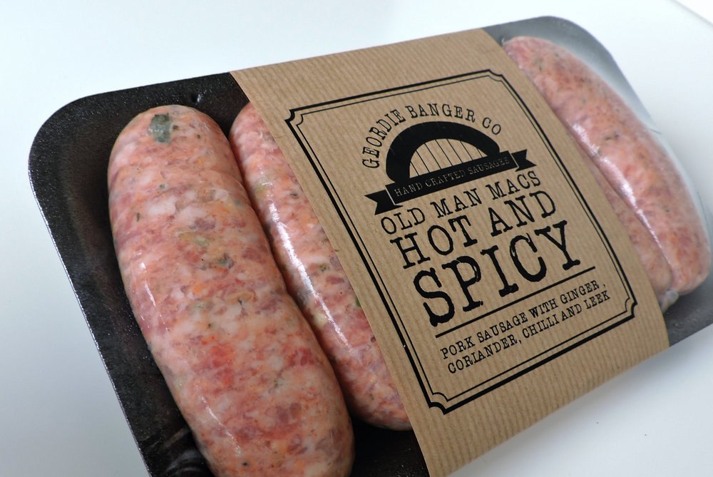 OLD MAN MAC'S HOT AND SPICY - PORK SAUSAGE WITH GINGER, CORIANDER, CHILLI AND LEEK