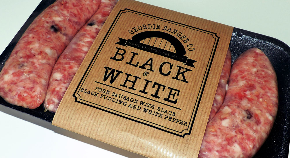 BLACK AND WHITE - PORK SAUSAGE WITH BLACK PUDDING AND WHITE PEPPER
