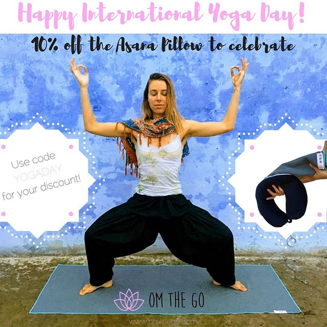 To celebrate, take 10% off the Asana Pillow, a 2-in-1 neck pillow and travel yoga mat. Oh and Happy summer too!!! ✌️😎🌴✈️🙏 use code YOGADAY at checkout. Link in bio! 💕 #omthego #yogalove