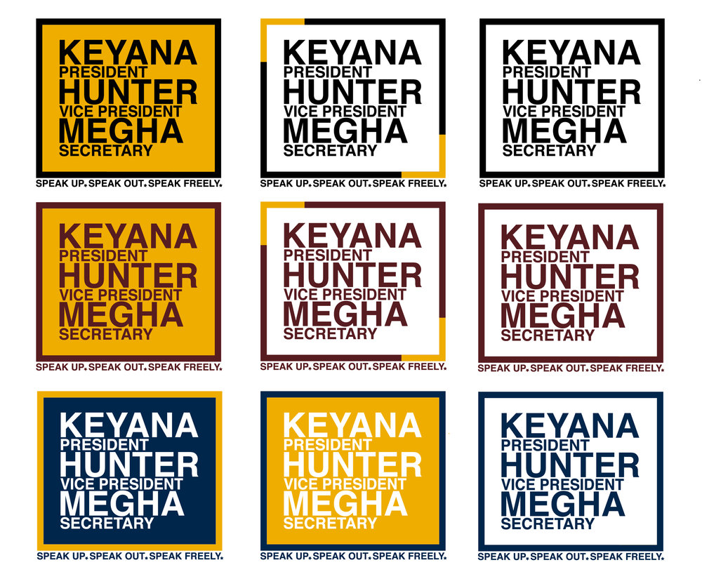 Assorted Color Combinations for SGA Election Logo